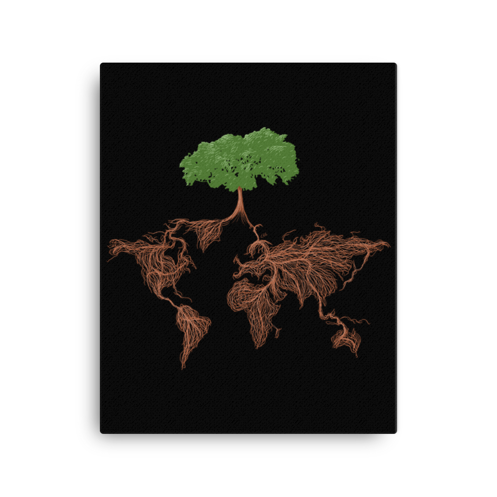Tree with Earth Map Roots Art Prints