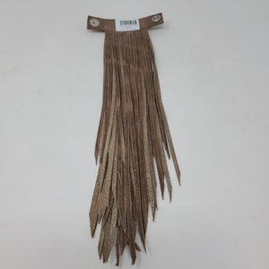 SNAP ON LEATHER FRINGE FULL GRAIN MOCA WITH JADE