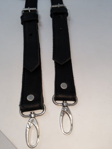 BACKPACK STRAPS BLACK LEATHER