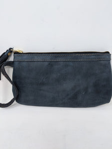 FULL GRAIN FADED DENIM  LEATHER WRISTLET CLUTCH