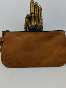 FULL GRAIN  CAFE  LEATHER WRISTLET CLUTCH