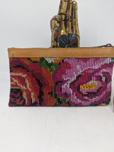 Load image into Gallery viewer, WRISTLET CLUTCH CAFE LEATHER ROSES