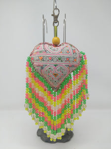 LARGE HEART WITH FRINGE GREEN/PINK/YELLOW