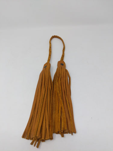 BRAIDED LEATHER DOUBLE TASSEL CAFE