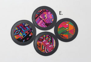 Huipil Leather  Zero Waste Coaster Set