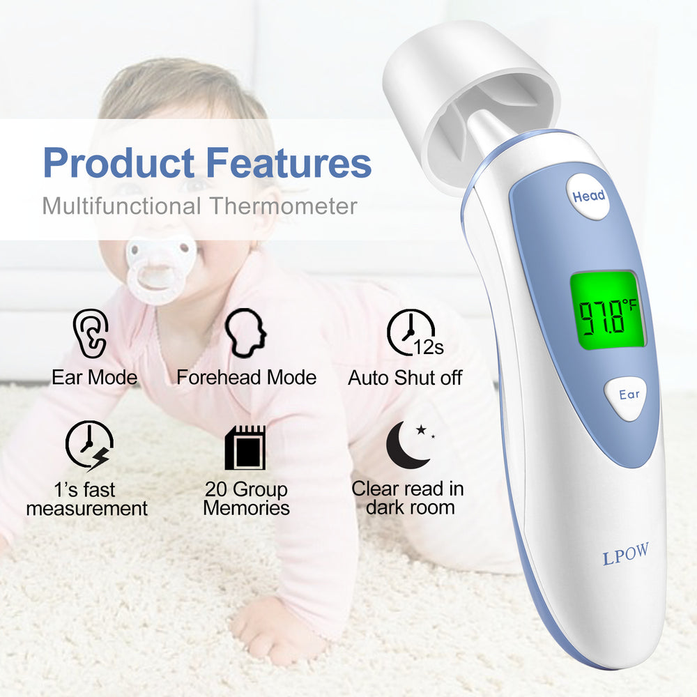 LPOW Baby Forehead and Ear Thermometer