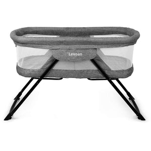Levoan 2-in-1 Fold Travel Crib Portable Rock Bassinet Free Installation Baby Beside Sleeper Function for Baby Girls/Boys/Infants