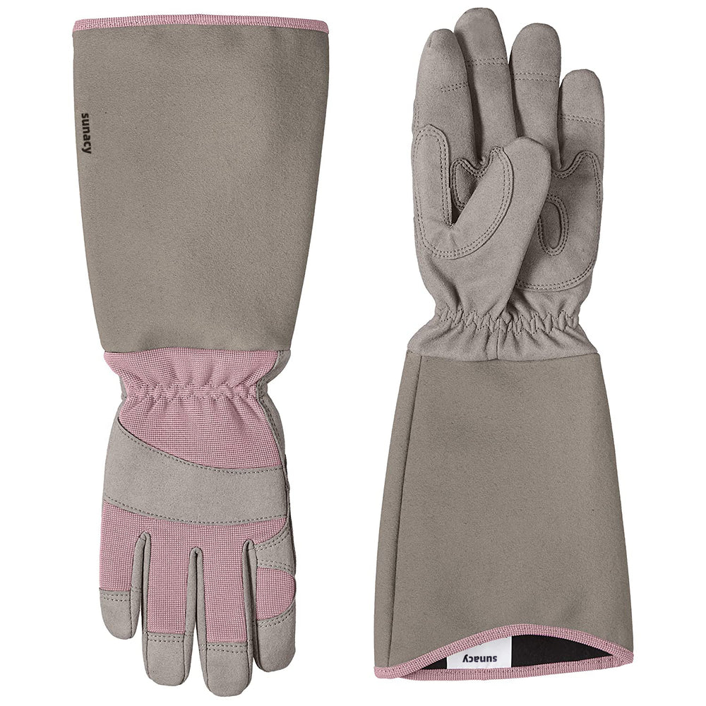 sunacy Rose Pruning Thorn Proof Gardening Gloves with Forearm Protection - Pink, XL