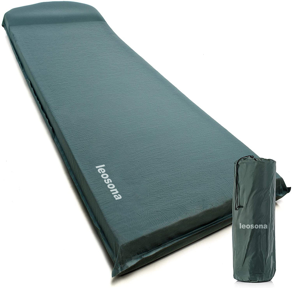 leosona UltraThick FlexFoam Sleeping Pad - Self-Inflating 3 Inches Camping Mat for Backpacking, Traveling and Hiking - 3inch Thickness for Better Stability & Support