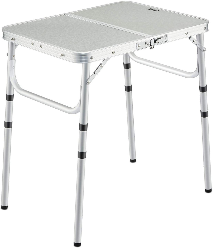 levular Small Folding Table 2 Foot, Adjustable Height Lightweight Portable Aluminum Camping Table for Picnic Beach Outdoor Indoor, White 24 x 16 inch (3 Heights)