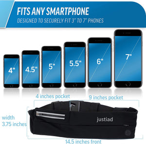 justiad Running Belts : Best Comfortable Running Belts That Fit All Phone Models and Fit All Waist Sizes. for Running, Workouts, Cycling, Travelling Money Belt & More. Comes in 5 Stylish Colors