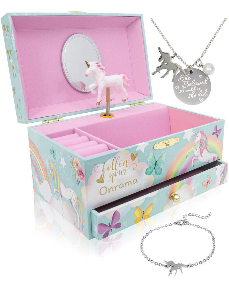 Onrama Unicorn Music Box & Little Girls Jewelry Set - 3 Unicorn Gifts for Girls