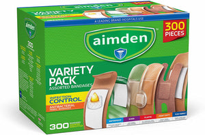aimden Bandages Variety Pack 300 Pieces, Including Antibacterial, Heavy Duty, Fabric, and Waterproof Bandages