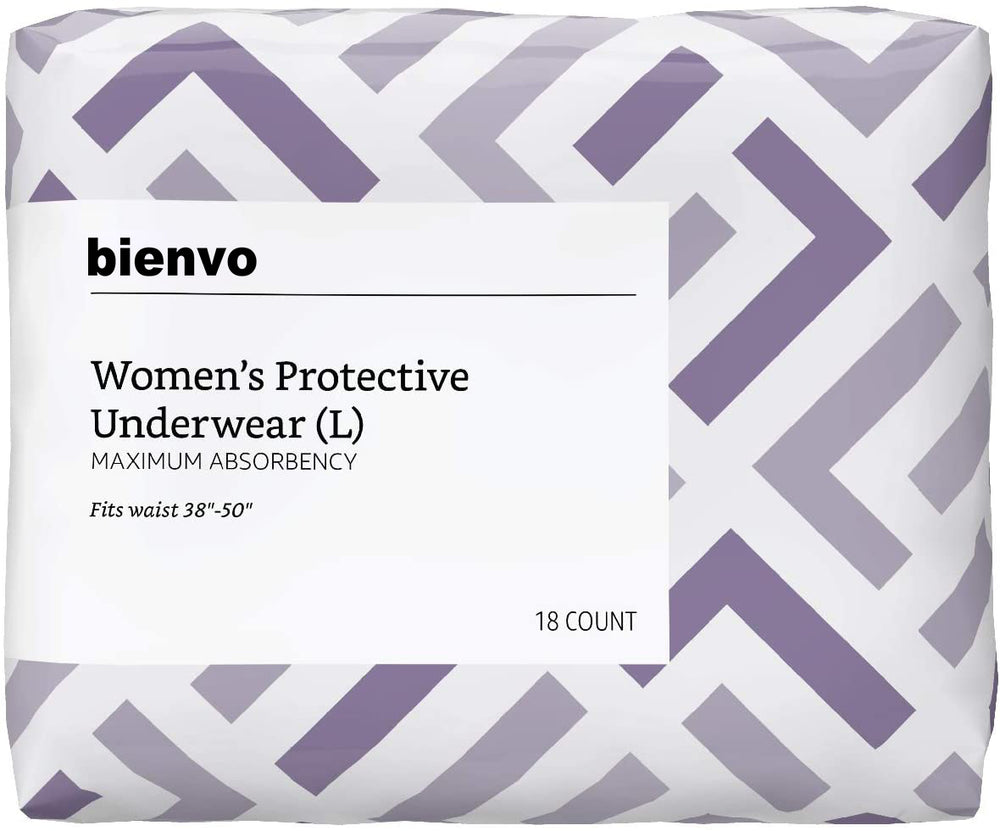 bienvo Incontinence & Postpartum Underwear for Women, Maximum Absorbency, Large, 18 Count, 1 Pack