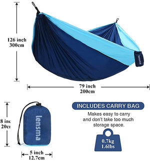 lensma Camping Hammock - Extra Large Double Parachute Hammock (2 Tree Straps 16 Loops,10 ft Included) USA Brand Lightweight Nylon Mens Womens Kids, Camping Accessories Gear (Sky Blue/Gray)