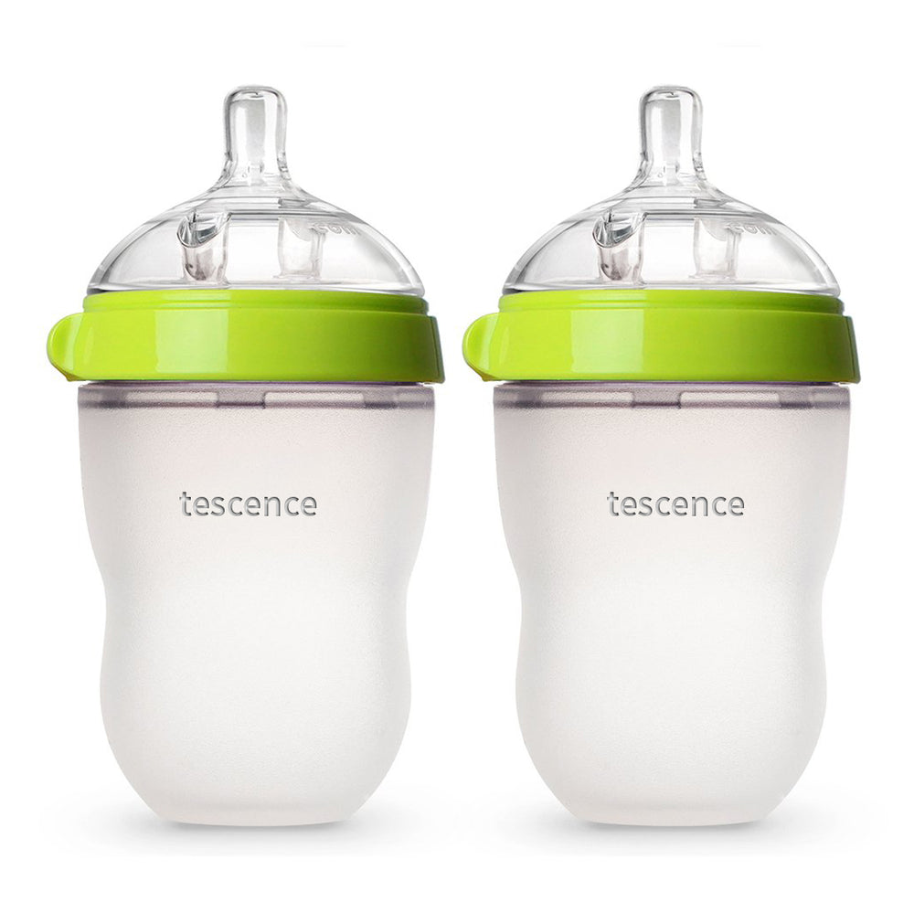 tescence Baby Bottle, Green, 8 Ounce (2 Count)