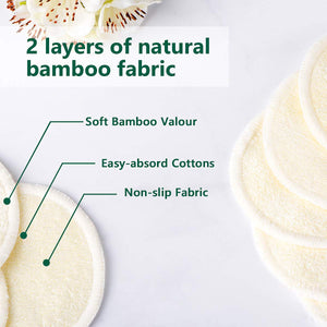 munema 20 Packs Organic Reusable Makeup Remover Pads, Washable Eco-friendly Natural Bamboo Cotton Rounds for all skin types with Cotton Laundry Bag