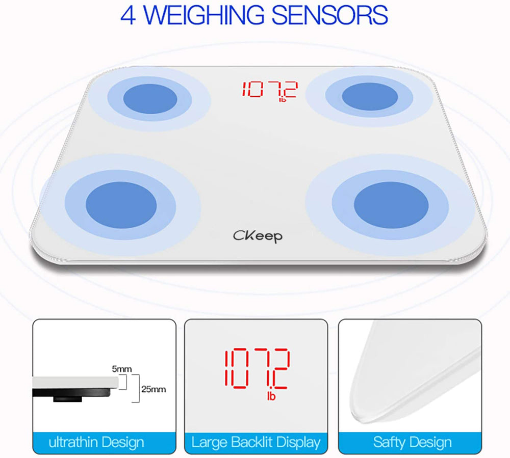 CKeep Scale,Body Fat Scale Smart BMI Scale, Body Weight Scale with Smartphone App Digital Bathroom Wireless Weight Scale with Bluetooth,396 lbs-White