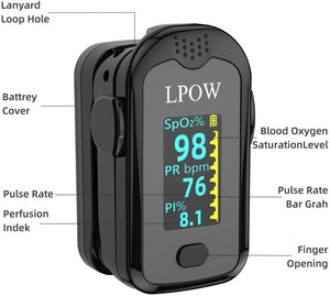 Pulse Oximeter Fingertip, Blood Oxygen Saturation Monitor for Pulse Rate, Heart Rate Monitor and SpO2 Levels with LED Screen Display Batteries and Lanyard Included