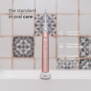 CKeep Ultra Whitening Pink Electric Toothbrush - 8 DuPont Brush Heads & Travel Case Included - Sonic 40,000 VPM Motor & Wireless Charging - 4 Modes w Smart Timer - Satin Rose Gold