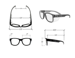 elenema  Iconic Y50 Design Series Safety Glasses with Side Shields | ANSI Z87+ Performance, Scratch & Fog Resistant, Comfortable & Stylish, Cloth Case Included, Clear Lens (2 Pair)