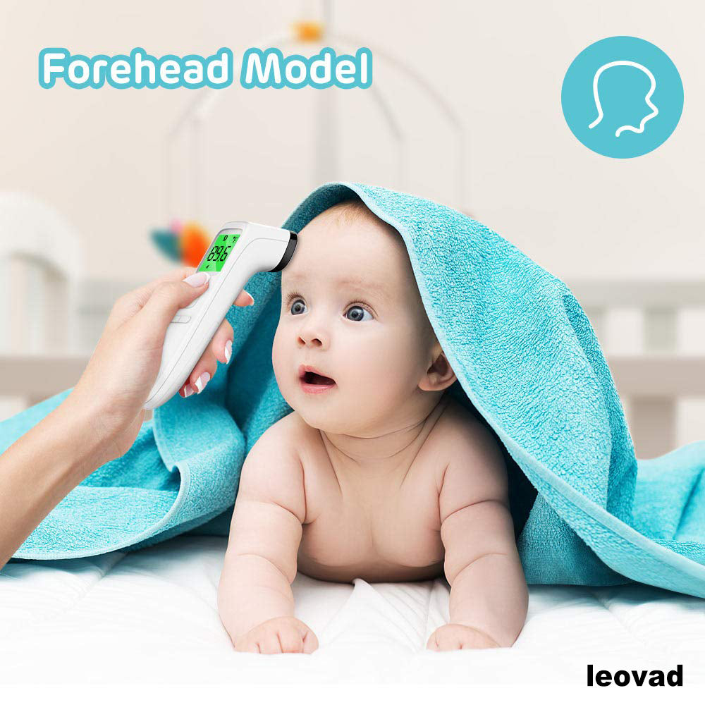 leovad Touchless Thermometer, Forehead Thermometer with Fever Alarm and Memory Function, Ideal for Babies, Infants, Children, Adults, Indoor, and Outdoor Use