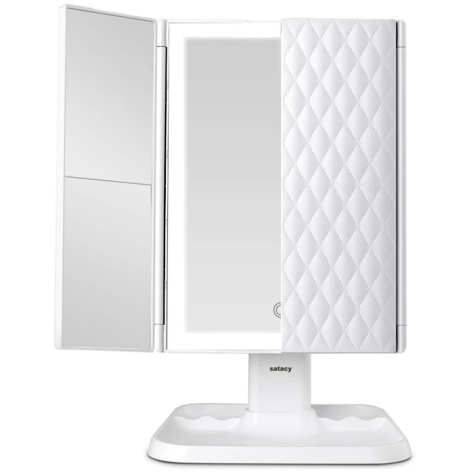Load image into Gallery viewer, Satacy Makeup Mirror Vanity Mirror with Lights - 3 Color Lighting Modes 72 LED Trifold Mirror, Touch Control Design, 1x/2x/3x Magnification, Portable High Definition Cosmetic Lighted Up Mirror