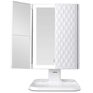 Satacy Makeup Mirror Vanity Mirror with Lights - 3 Color Lighting Modes 72 LED Trifold Mirror, Touch Control Design, 1x/2x/3x Magnification, Portable High Definition Cosmetic Lighted Up Mirror