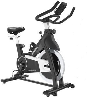 wooana Exercise Bike Stationary Indoor Cycling Bike 35 lbs Flywheel Belt Drive Workout Bicycle Training LCD Monitor / Ipad Mount / Adjustable Handlebar for Home Cardio Workout