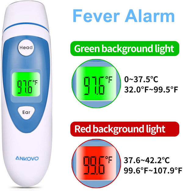 ANKOVO Thermometer for Fever Digital Medical Infrared Forehead and Ear for and