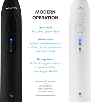 ANKOVO Dual Handle Ultra Whitening 40,000 VPM Wireless Charging Electric ToothBrushes - 3 Modes with Smart Timers - 10 Dupont Brush Heads & 2 Travel Cases Included