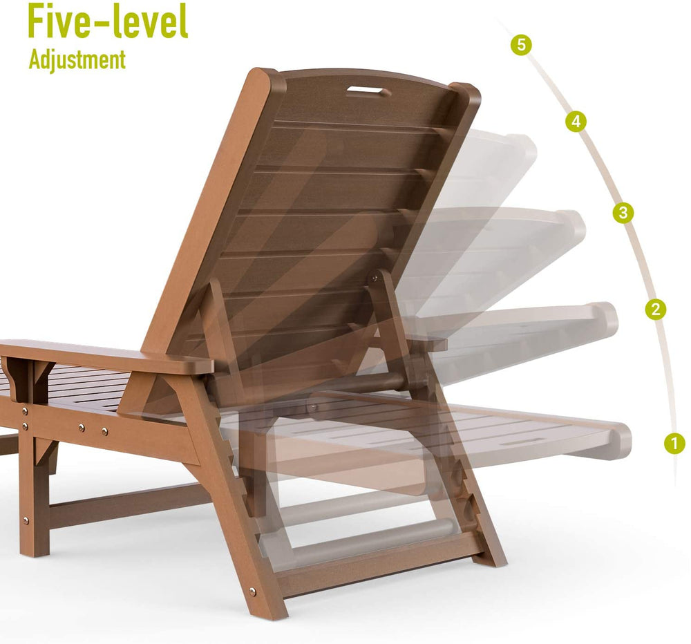 Orard Chaise Lounge Outdoor, 5 Adjustable Lounge Chair, Reclining All Weather Poly Lumber Chairs for Pool, Porch, Patio