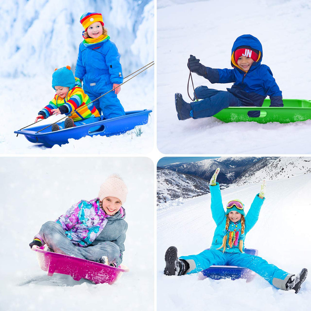 "LPOW Kids Snow Sleds 3 Pack, 25.4"" L Winter Snow Toboggan Sled, Rope Included for Girls and Boys, 110lbs Capacity, Set of 3 Colors"