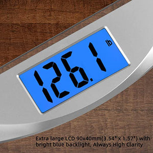 pesloc Digital Body Weight Bathroom Scale Weighing Scale with Step-On Technology,Extra Large Blue Backlit Display and Batteries Included, 400 Pounds,Clear Glass