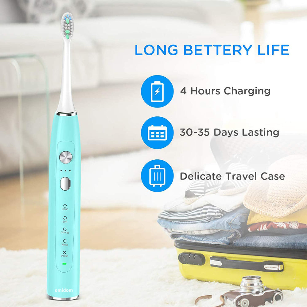 Omidom Sonic Electric Toothbrush, Travel Rechargeable Toothbrush for Adults Kids with 5 Modes and 3 Intensity Levels, Waterproof, USB Fast Charging, Smart Timer,4 Brush Heads & Travel Case Included-Pink
