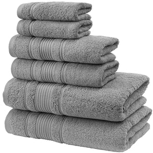 LPOW Towels 6 Piece Towel Set, 2 Bath Towels, 2 Hand Towels, and 2 Washcloths - Grey