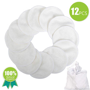 LPOW Reusable Makeup Remover Pads Cotton Rounds for Face,Bamboo Organic Cotton Rounds Washable with Laundry Bag,12 Pieces (White)