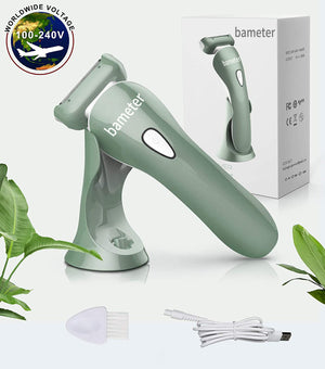 bameter Electric Razor for Women - Womens Shaver Bikini Trimmer Body Hair Removal for Legs and Underarms Rechargeable Wet and Dry Painless Cordless with LED Light, Green