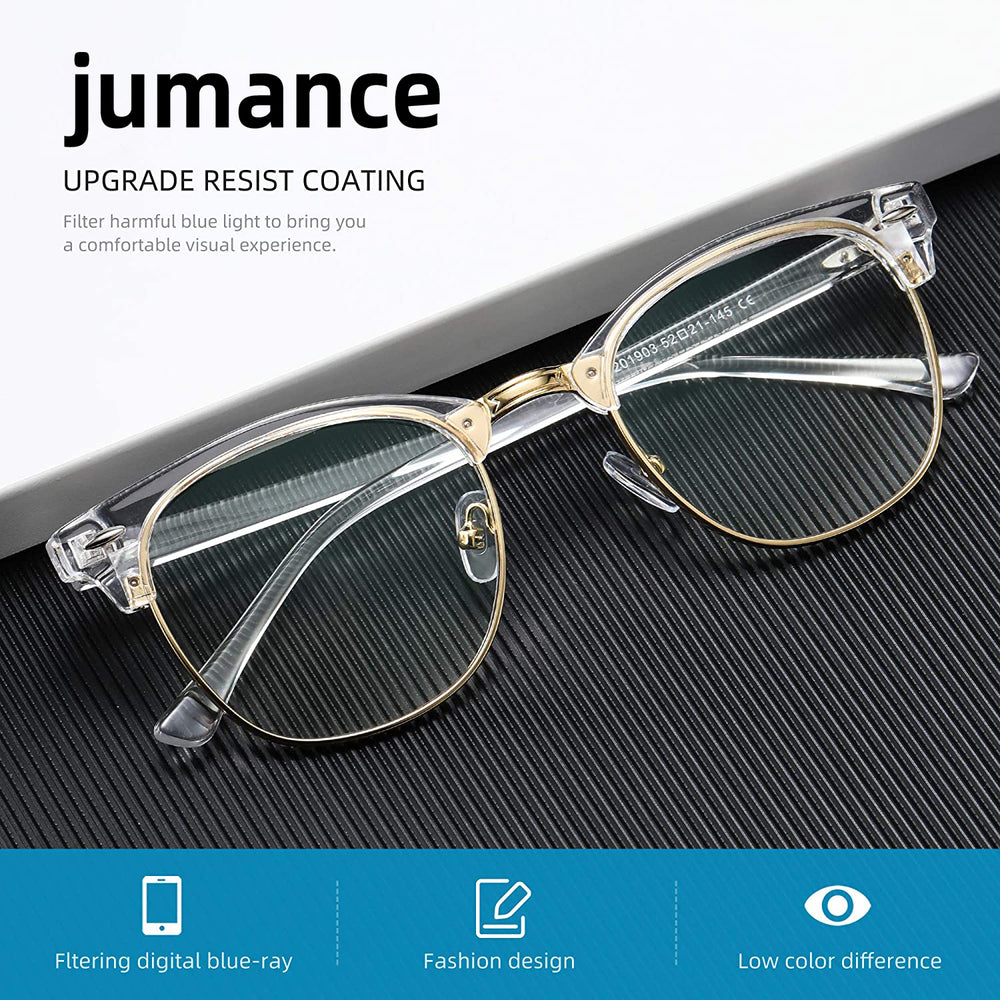 jumance Blue Light Blocking Glasses Vintage Half Frame UV Clear Lens Anti Eyestrain Computer Gaming Glasses for Women Men