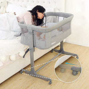 Patoya 2-in-1 Baby Bassinet & Bedside Sleeper, Adjustable Portable Crib Bed for Infant/Newborn Baby, Grey