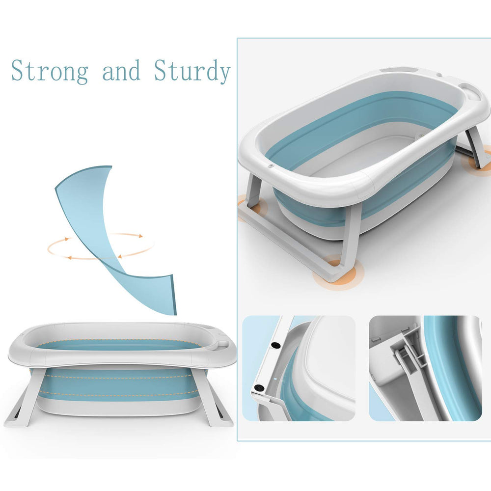 LPOW Baby Bathtub for Newborn Portable Shower Basin Non-Slip Supports & Cushion Foldable Freestanding for Toddler Kids