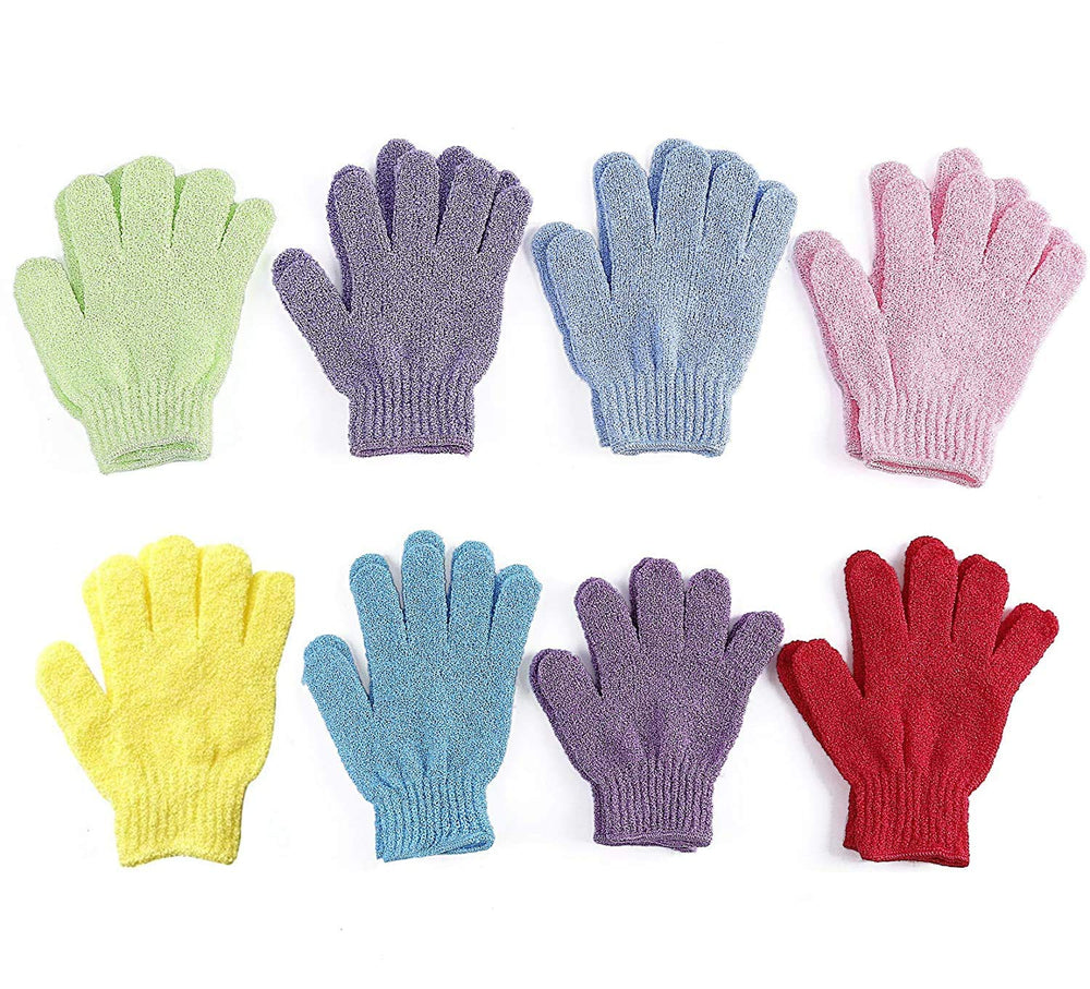 LPOW Bath Gloves 8 Pairs Double Sided Exfoliating Gloves Body Scrubber Scrubbing Glove Bath Mitts Scrubs