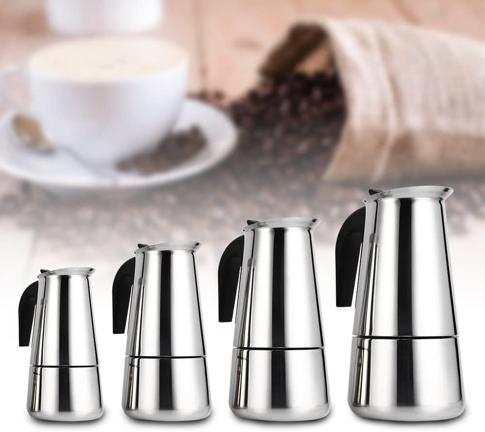 LPOW Coffeepots, 100ml/200ml/300ml/450ml Stainless Steel Stove Top Latte Mocha Pot Espresso Coffee Maker Percolator, Non-Electric.