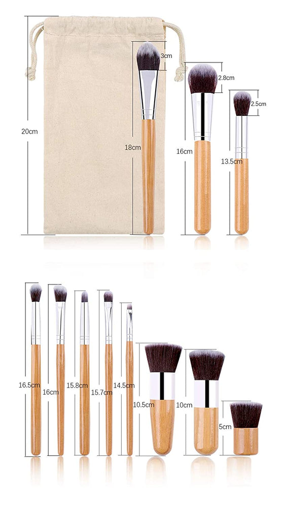 LPOW Cosmetic Brushes Set,11 Pieces Professional Cosmetic Brushes set include Eye Shadow, Concealer, Eyebrow, Foundation brushes,Powder Liquid Cream Blending Brushes Set with Premium bamboo Handles