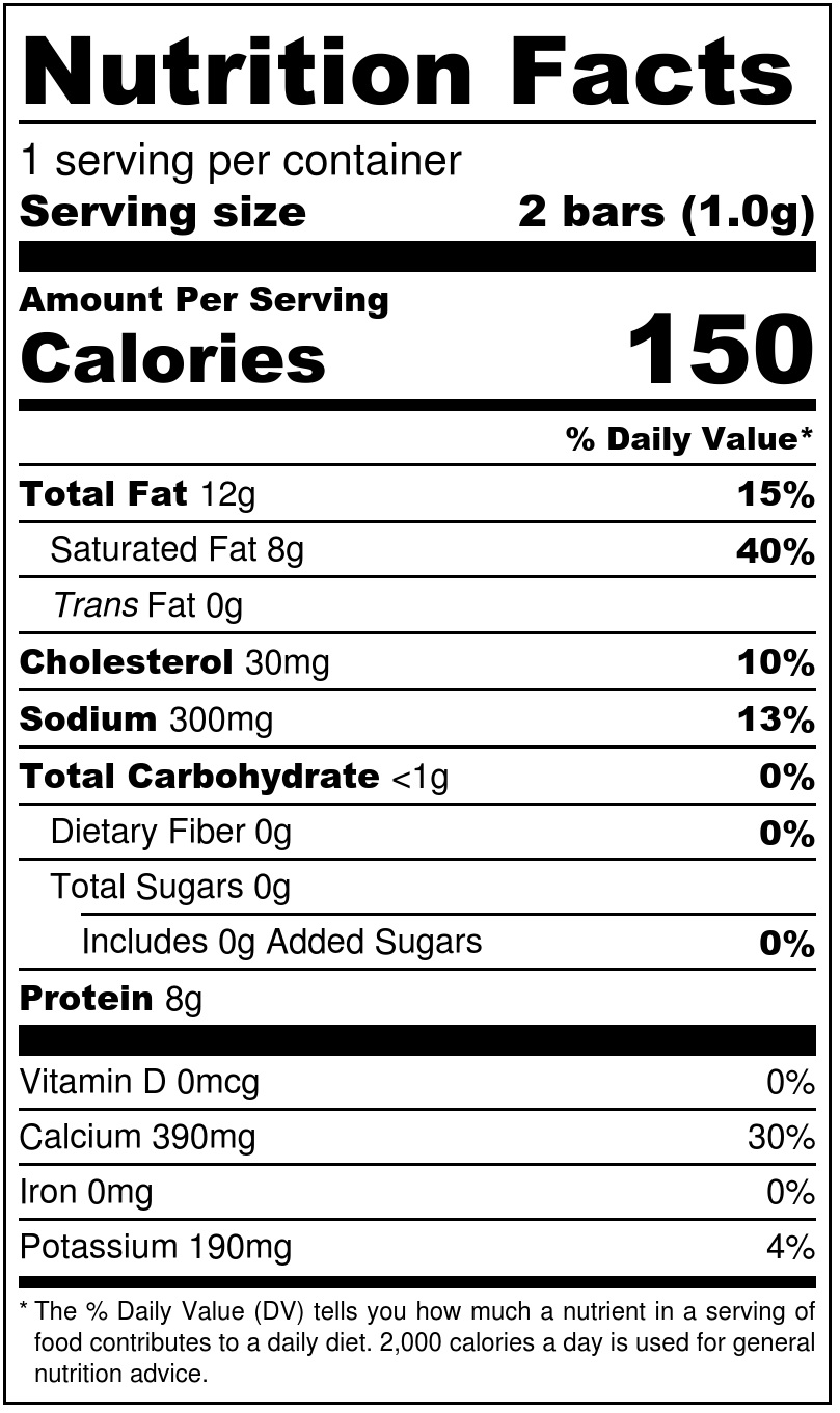 Cheddar Cheese Snack Bars Nutrition Facts