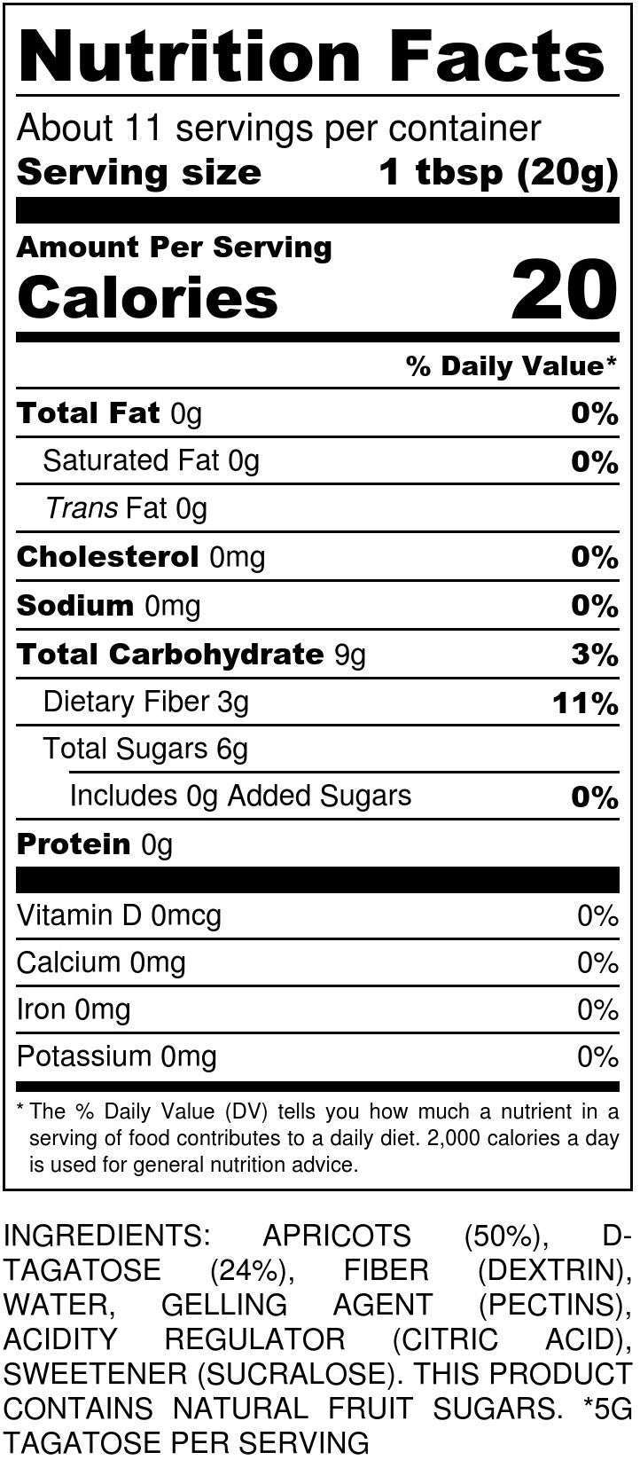 No Sugar Added Apricot Jam Nutrition Facts