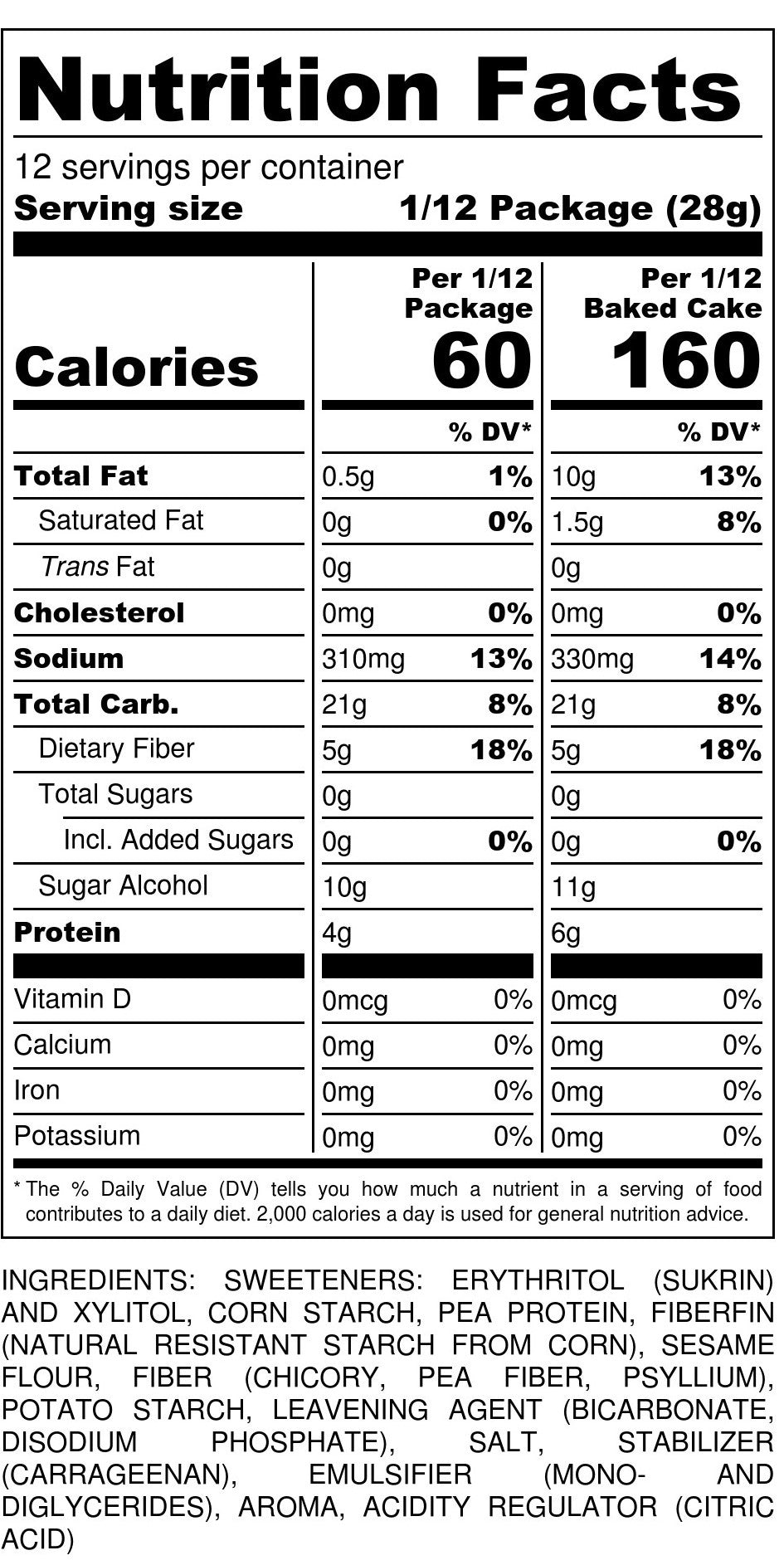 Baking Mix Nutrition Facts