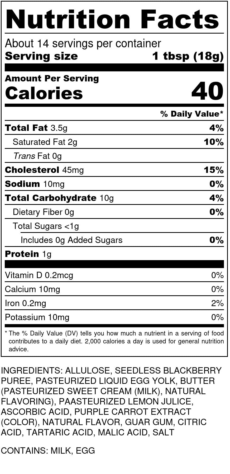 Blackberry Curd Nutrition Facts