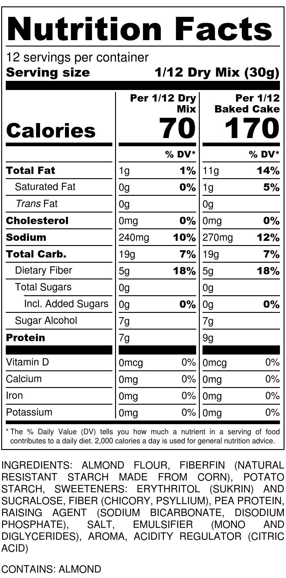 Cake Mix Nutrition Facts