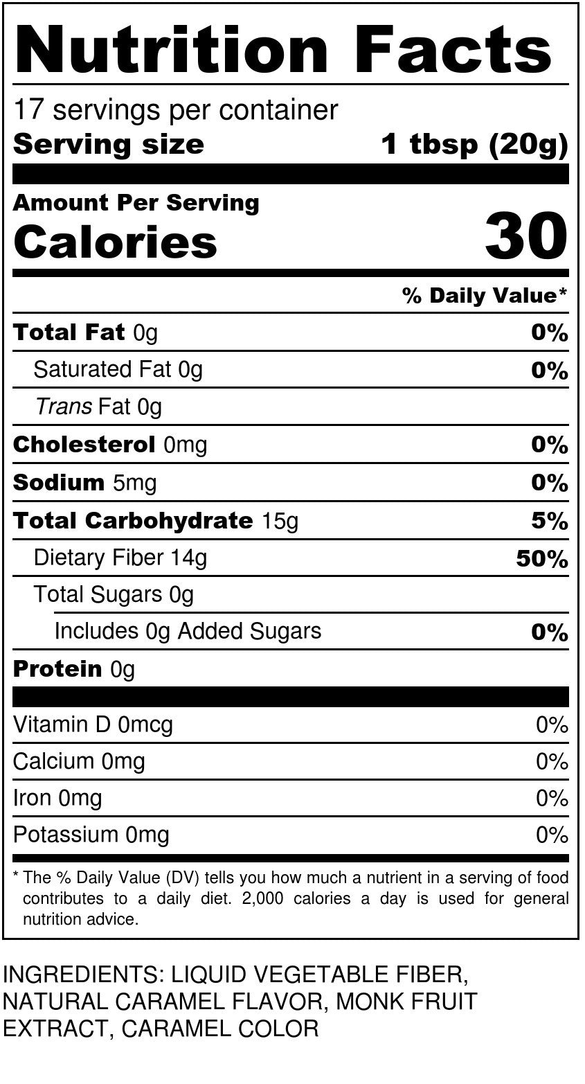 Sugar Free Caramel Syrup Nutrition Facts